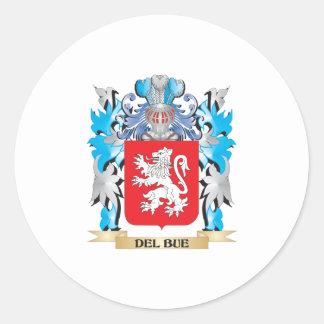 Escudo de armas de Del-Bue - escudo de la familia Pegatina Redonda