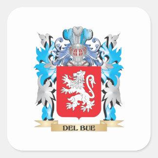 Escudo de armas de Del-Bue - escudo de la familia Pegatina Cuadrada