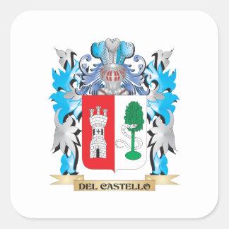 Escudo de armas de Del-Castello - escudo de la Calcomanía Cuadradas Personalizadas