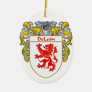 Escudo de armas de DeLeon/escudo de la familia Adorno Navideño Ovalado De Cerámica