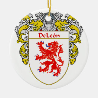 Escudo de armas de DeLeon/escudo de la familia Adorno Navideño Redondo De Cerámica