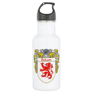 Escudo de armas de DeLeon/escudo de la familia Botella De Agua De Acero Inoxidable