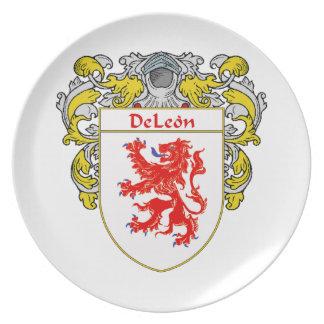Escudo de armas de DeLeon/escudo de la familia Plato De Cena