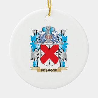 Escudo de armas de Desmond - escudo de la familia Adorno Navideño Redondo De Cerámica
