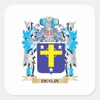 Escudo de armas de Devlin - escudo de la familia Calcomanía Cuadrada Personalizada