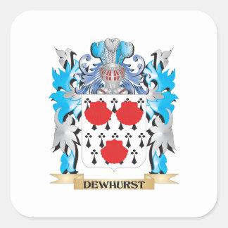 Escudo de armas de Dewhurst - escudo de la familia Pegatina Cuadrada