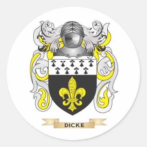 Escudo de armas de Dicke Etiqueta Redonda