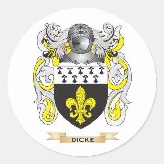Escudo de armas de Dicke Pegatina Redonda
