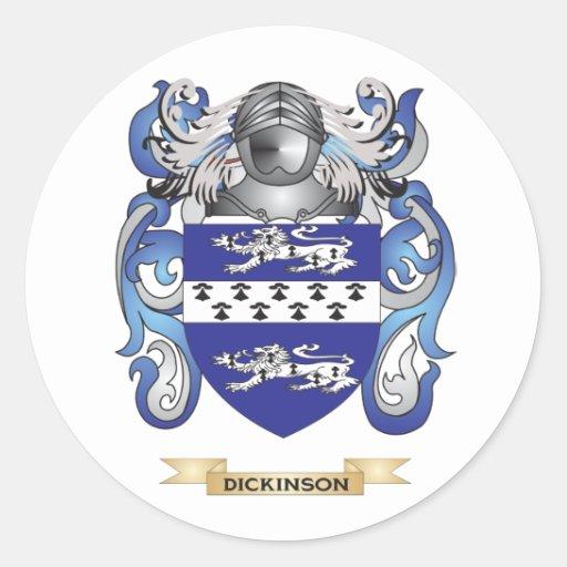 Escudo de armas de Dickinson Pegatina Redonda