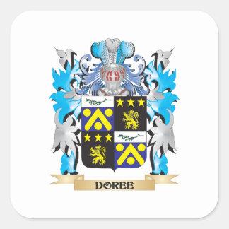 Escudo de armas de Doree - escudo de la familia Pegatina Cuadrada