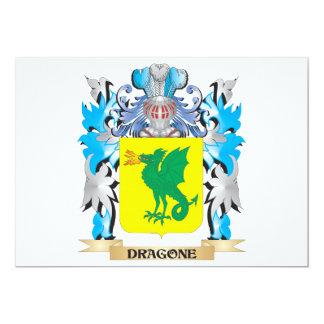 """Escudo de armas de Dragone - escudo de la familia Invitación 5"""" X 7"""""""