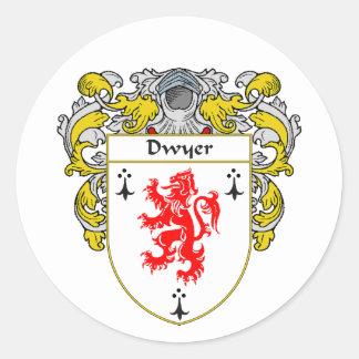 Escudo de armas de Dwyer (cubierto) Pegatina Redonda