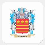 Escudo de armas de Embrey - escudo de la familia Pegatina Cuadrada