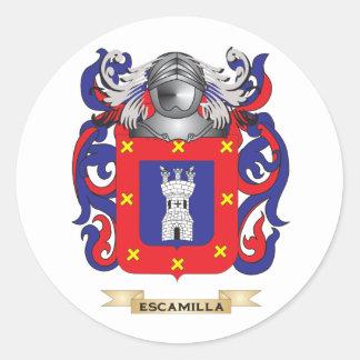 Escudo de armas de Escamilla Pegatina Redonda