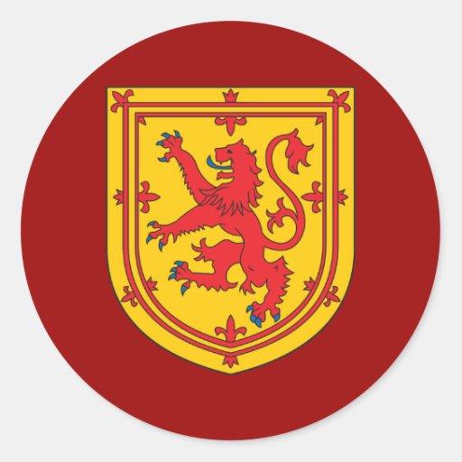 Escudo de armas de Escocia Pegatina Redonda