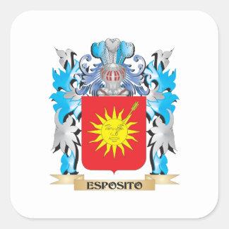 Escudo de armas de Esposito - escudo de la familia Pegatina Cuadrada