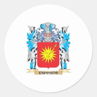 Escudo de armas de Esposito - escudo de la familia Pegatina Redonda