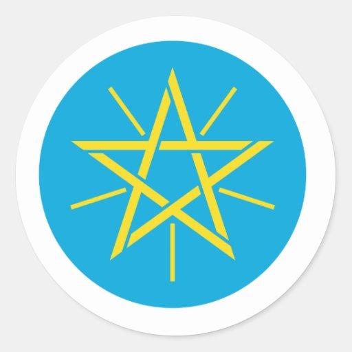 Escudo de armas de Etiopía Pegatina Redonda