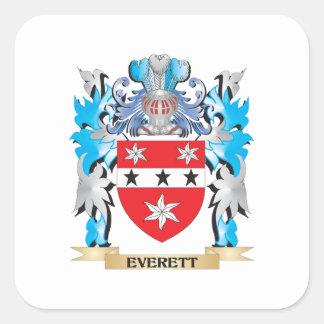 Escudo de armas de Everett - escudo de la familia Calcomanía Cuadradas