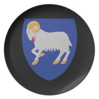 Escudo de armas de Faroe Island Dinamarca Platos Para Fiestas