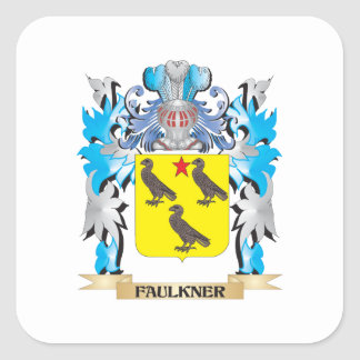 Escudo de armas de Faulkner - escudo de la familia Pegatina Cuadrada