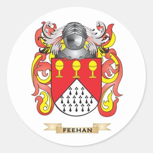 Escudo de armas de Feehan Etiquetas Redondas