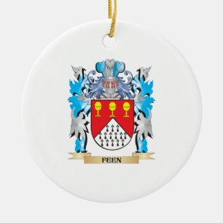 Escudo de armas de Feen - escudo de la familia Adorno Navideño Redondo De Cerámica