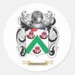 Escudo de armas de Forrest Pegatina Redonda