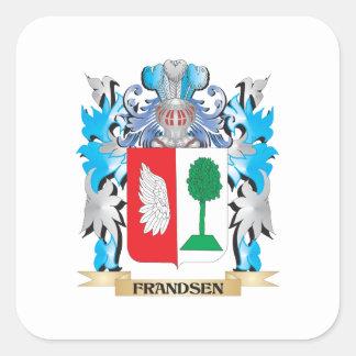 Escudo de armas de Frandsen - escudo de la familia Calcomanía Cuadrada Personalizada