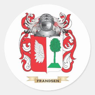 Escudo de armas de Frandsen Pegatina Redonda