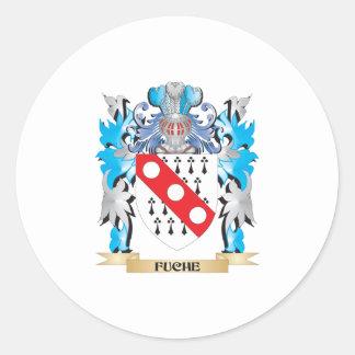 Escudo de armas de Fuche - escudo de la familia Pegatina Redonda