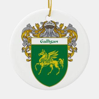 Escudo de armas de Galligan (cubierto) Adorno Redondo De Cerámica