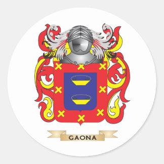 Escudo de armas de Gaona (escudo de la familia) Etiqueta Redonda