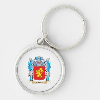 Escudo de armas de Garay - escudo de la familia Llavero Redondo Plateado