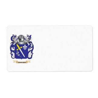 Escudo de armas de Gerner (escudo de la familia) Etiquetas De Envío