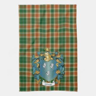 Escudo de armas de Gibson y tartán antiguo Toalla De Mano