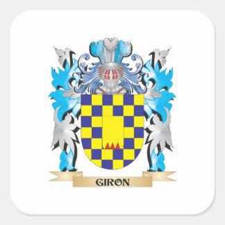 Escudo de armas de Giron - escudo de la familia Pegatina Cuadrada