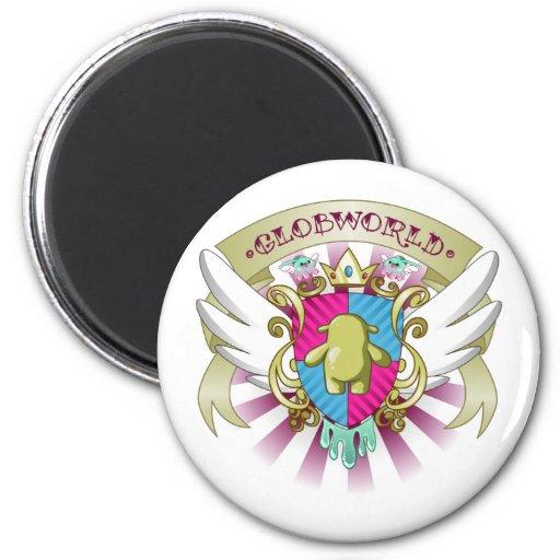 Escudo de armas de Globby - rosa Imán Para Frigorifico