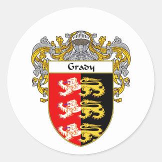 Escudo de armas de Grady (cubierto) Pegatina Redonda
