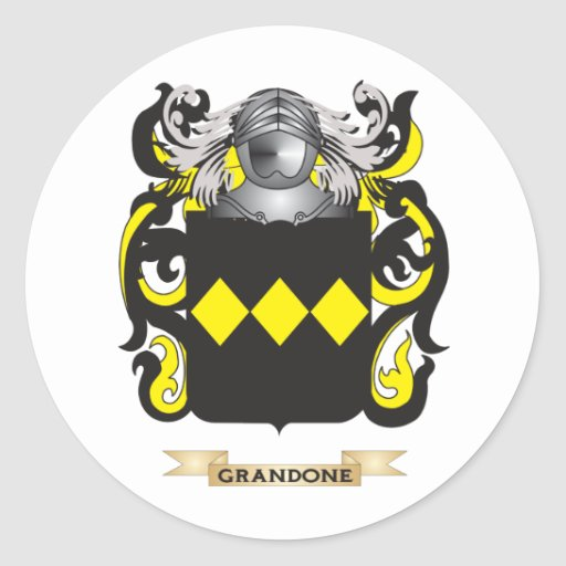 Escudo de armas de Grandone (escudo de la familia) Etiqueta Redonda