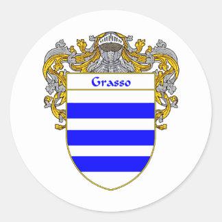Escudo de armas de Grasso (cubierto) Pegatina Redonda