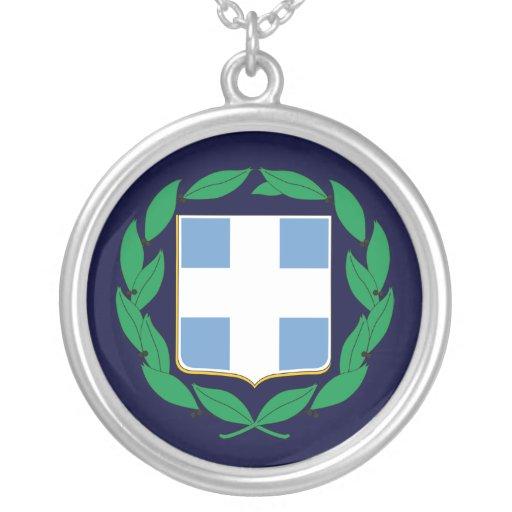 Escudo de armas de Grecia Colgante Redondo