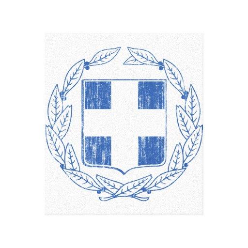 Escudo de armas de Grecia Impresión En Lona Estirada