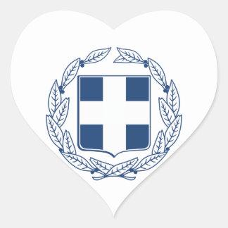 Escudo de armas de Grecia Pegatina En Forma De Corazón