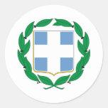 Escudo de armas de Grecia Pegatina Redonda