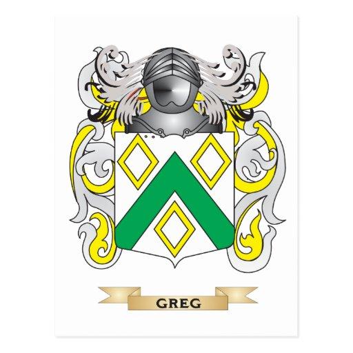 Escudo de armas de Greg (escudo de la familia) Postal