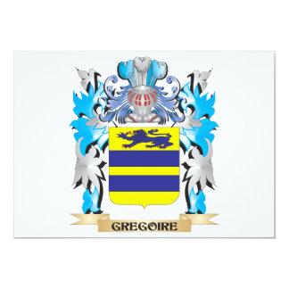 Escudo de armas de Gregorio - escudo de la familia Invitación 12,7 X 17,8 Cm
