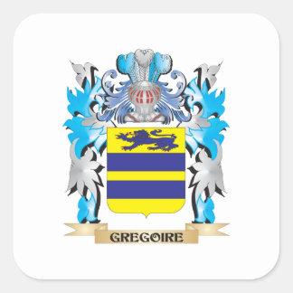 Escudo de armas de Gregorio - escudo de la familia Pegatina Cuadrada
