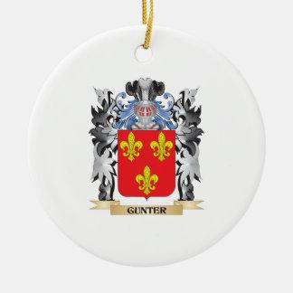 Escudo de armas de Gunter - escudo de la familia Adorno Navideño Redondo De Cerámica