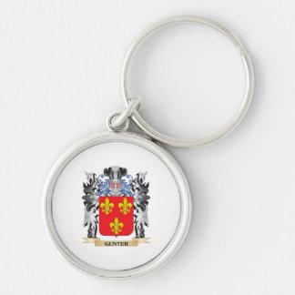 Escudo de armas de Gunter - escudo de la familia Llavero Redondo Plateado